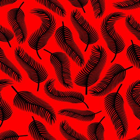 distributed: Black feather on red background. Seamless vector background with uneven distributed feather shapes