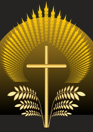 burial: Funereal christian decoration. Burial decoration with golden crucifix and palm leaves. Golden rays and glow over the cross. Funereal motif on black background. Illustration