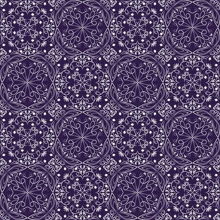 deep purple: Fine oriental with white filigree calligraphic ornament on deep purple background, vector symmetric geometric patterns