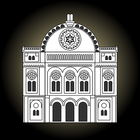 simchat torah: Synagogue black and white drawing. Facade of the synagogue in the front view. Jew religion building of old synagogue.