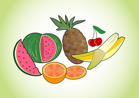 summer diet: Tropical and summer juicy fruits - melon, pineapple, banana, cherry and orange, fruit pictures on green gradient background, healthy diet and summer refreshment