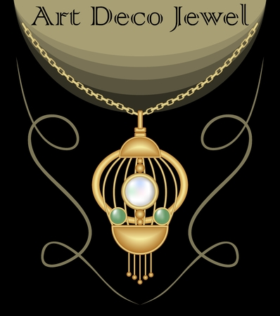 gold necklace: Gold necklace with pendant decorated with pearl and green emeralds on fine golden chain, elegant vintage jewel in art deco style