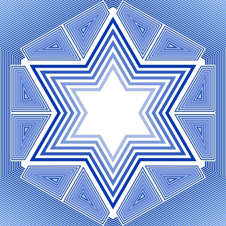 israel jerusalem: David star in blue and white design. Israel national symbol in outline design.