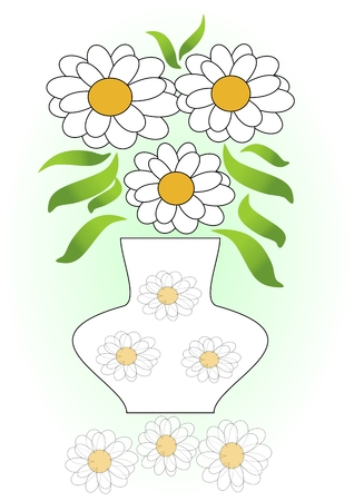 mirror image: White flowers bouquet in vase with white flowers decoration. White flowers mirror image. White flower composition on green gradient background.