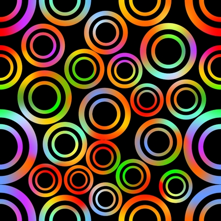 contrasting: Seamless background with abstract concentric circle shapes in vivid rainbow colors, high contrasting ornament on black background. Decoration for textile, paper print Illustration