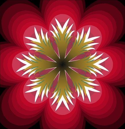 multilayered: Plastic red fantasy flower with white pistil. Multilayered flower. Stylized red flourish shape. Symmetric flower abstract.