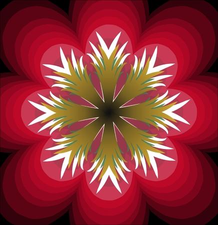 pistil: Plastic red fantasy flower with white pistil. Multilayered flower. Stylized red flourish shape. Symmetric flower abstract.