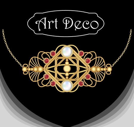 filigree: Art deco jewel. Vintage gold necklace. Jewel in victorian style. Retro necklace. Filigree gold jewel. Antiquarian jewelry. Filigree gold necklace. Illustration