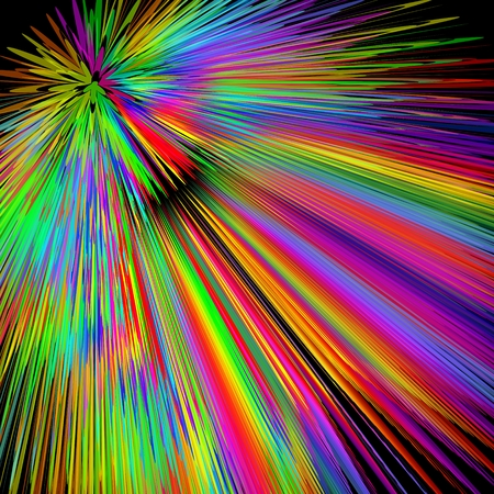 show bill: Rainbow explosion, abstract multicolored background in vivid spectrum colors, disco laser show decoration with wild colored rays, background for placard, bill, invitation, Vectores
