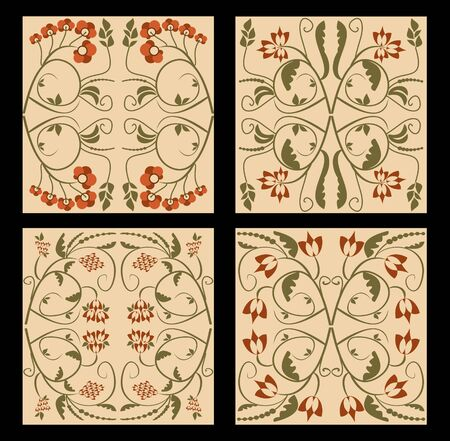 nostalgic: Ancient folklore tile set. Nostalgic colored folklore ornament. Flourish patterns in muted colors. Vintage ornament in art deco style. Illustration