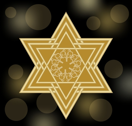 hebrew bible: David star in gold design. Star of David on black bokeh background with soft lights. Abstract decoration with jewish symbol.