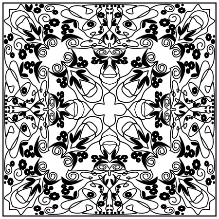 distributed: Black and white vintage tile with geometric even distributed ornament. Illustration