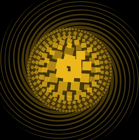 intensity: Abstract pattern composed of yellow squares with different color intensity, circle shape on swirl beams, black background