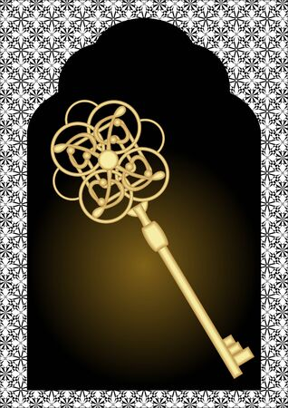baroque gate: Gate silhouette with vintage gold key. Black and white victorian patterns on background. Luxury golden key on dark background.