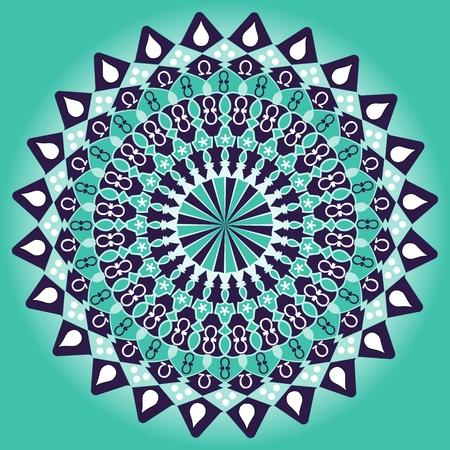 aura: Green and dark purple mandala for balanced mind obtaining. Geometric symmetric circle mandala with light aura. Illustration