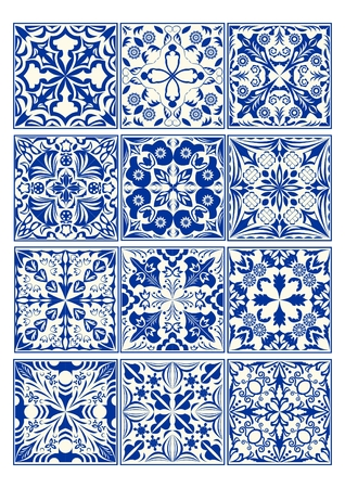 Set of vintage ceramic tiles in azulejo design with blue patterns on white background, traditional Spain and Portugal pottery