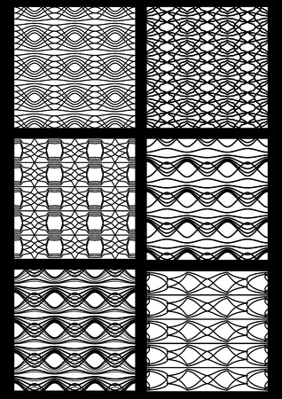 colection: Monochrome black and white seamless patterns. colection of art deco patterns. Geometric vintage stripe ornaments. Illustration