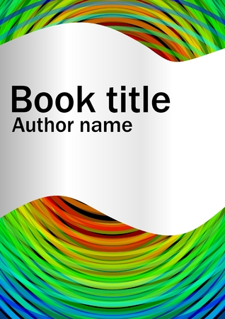 paper strip: Book cover template with abstract rainbow circles and cambered paper strip for book, brochure, textbook title. Template suitable for  poster, bill, leaflet