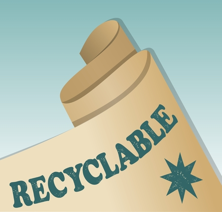 chipped paint: Recycled material emblem, rolled old yellowed paper with inscription recyclable and green star motif with chipped paint texture. Illustration
