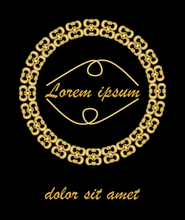 金色のエンボス加工ヴィンテージフレーム。独自のメッセージの場所を持つ空白の金色の円枠。豪華なカバー、ラッピング、包装のための装飾。  イラスト・ベクター素材