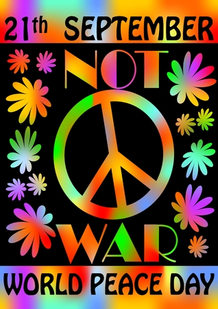 protest poster: World peace day, 21th September, colorful rainbow template, poster with flowers and anti-war retro motif of hippies movement Illustration