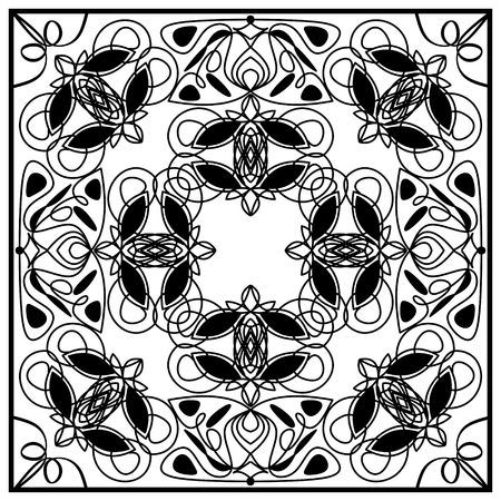 distributed: Black and white vintage tile with geometric even distributed ornament. Art deco patterns. Illustration