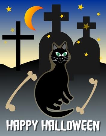 sepulcher: Happy halloween post card. Halloween scenery. Halloween black cat on cemetery. Ghostly halloween picture. Spooky halloween cemetery. Dangerous halloween motif.