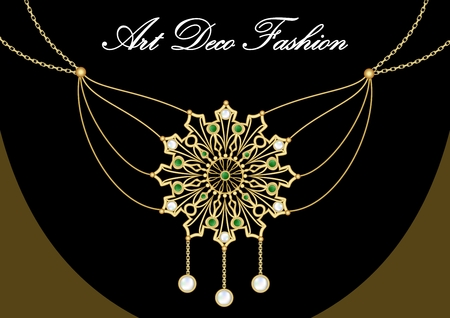 emerald stone: Gold necklace with pendant, rich filigree golden star decorated with pearl and green emeralds on fine golden chain, elegant vintage jewel in art deco style