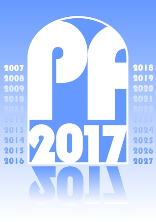 pf: Modern Happy new year 2017 template in blue design, pour feliciter 2017 in blue design, useful for corporate purposes, typographic effect in gate shape, mirror effect Illustration