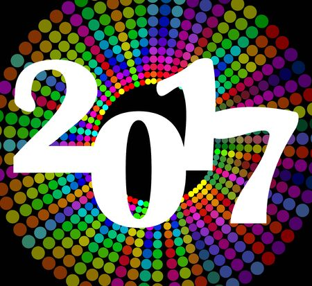 Happy new year billboard 2017 with colorful rainbow circle shapes. vector design template for new year welcome party Illustration