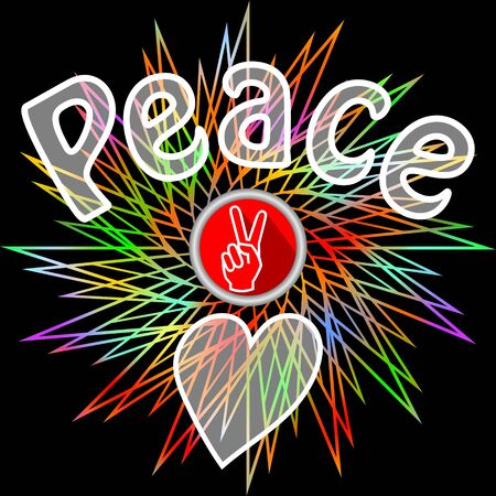 hippies: Peace leaflet. Semitransparent peace inscription, victoria finger gesture and heart on black background with rainbow line star shape. Flyer in retro hippies style. Antiwar theme