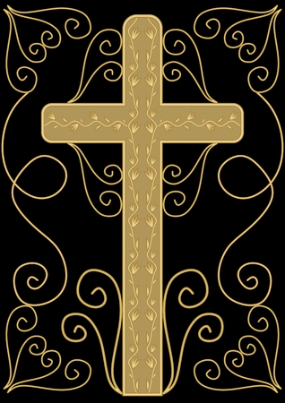 condolence: Classical luxury funereal decoration with golden crucifix with golden floral decoration and swirly elements on black background, burial decoration in victorian style