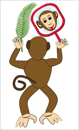 mirroring: Monkey frolic with mirror. Monkey face in mirror. Monkey holding a palm leaf. Monkey from the back. Funny monkey illustration. Monkey children illustration. Vector monkey isolated. Illustration