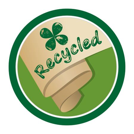 chipped paint: Recycled material emblem, rolled old yellowed paper in circle shape, inscription recycled and green cloverleaf motif with chipped paint texture. Illustration