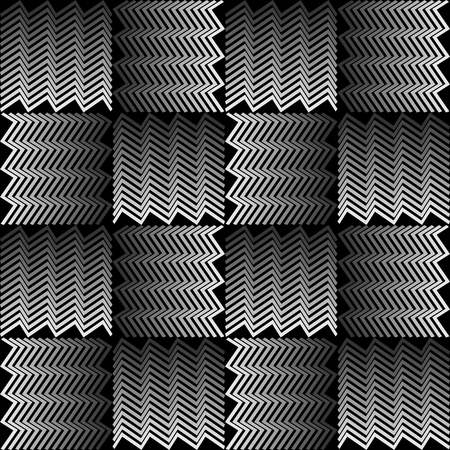 jagged: Monochrome background with 3d effect. Squares composed of jagged line.