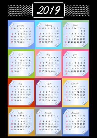 Calendar 2019, calendarium on memory blocks, multicolored background, vintage patterns in white outline, paper with rolled corner