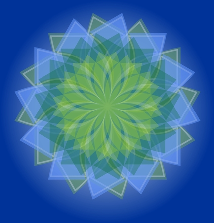soothing: Semitransparent blue and green mandala on deep blue gradient background, soothing colors of nature in geometric isolated star shape