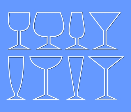 types of glasses: Set of wine glasses for different types of wine. Simple monoline glass silhouettes for menu or drink card decoration in restaurant, bar