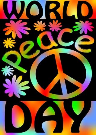 anti graffiti Día de la Paz Mundial con el símbolo internacional de la paz,