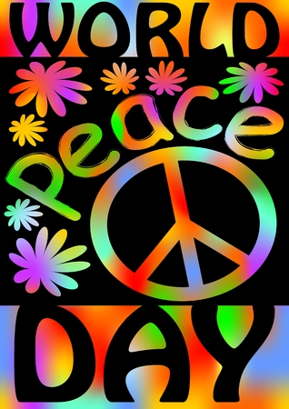 disarmament: World Peace day with international symbol of peace, disarmament, anti-war movement. Grunge street art design in hippies rainbow colors. Vector image on radiating background. Retro motif of hippies movement