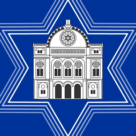 jewish star: Synagogue drawing inside David star shape. Jewish religious symbolism. White synagoque silhouette on blue background.
