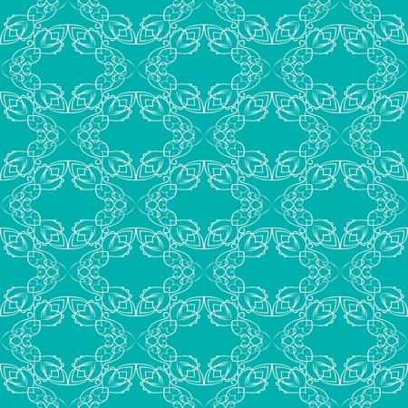 brocade: Vintage fine white brocade patterns on trendy green background, seamless background with retro victorian patterns Illustration