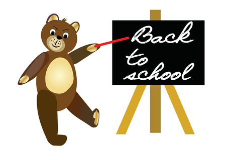 red  pointer: Back to school. Brown teddy bear with red pointer by blackboard. Welcome banner for beginning of the school year.
