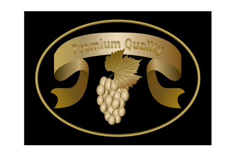 wine grapes: Luxurious golden oval label for premium quality wine, golden ribbon with inscription, a bunch of grapes with leaf