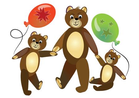baby playing toy: Teddy bear mother with teddy bear children. Cute teddy bears children carrying bals. Sitting teddy bear. Teddy bear group on walk. Children illustration. Illustration