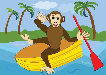 oar: Funny monkey floats on yellow inflatable rubber dinghy with red oar. Illustration for children, animal vector cartoon clipart