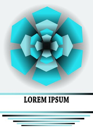 paperback: Cover template with turquoise element composed of pentagonal shapes. Star shape on light gray gradient background. Design with copyspace for leaflet, flyer, cover, paperback. Illustration
