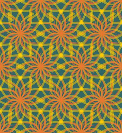 semitransparent: Cheerful green background with semitransparent drawing in orange and yellow, flower shapes, seamless vector background for spring or summer design