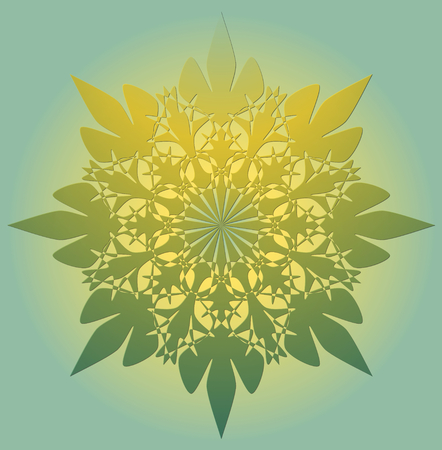 enlightenment: Mandala in light green color with yellow light - a symbol of spiritual enlightenment. Symmetric geometric lace patterns. Illustration