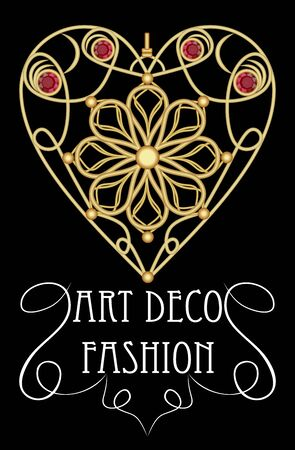 fashion art: Gold filigree jewel in heart shape with red gems, ruby or garnet. Beautiful pendant in victorian style, art deco fashion, antique jewelry
